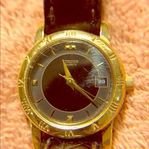 Citizen Petite ladies watch gold w/ brown leather